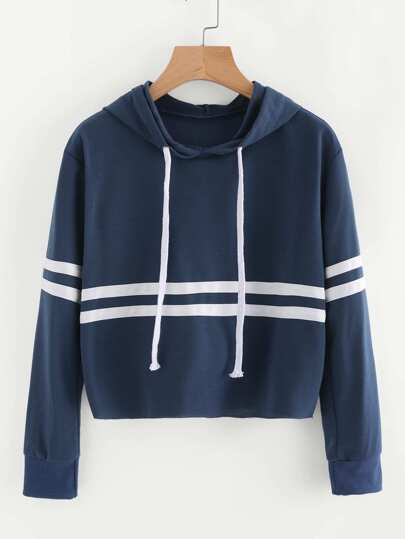Striped Trim Drawstring Hoodie