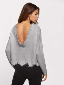 Scoop Back Scalloped Raw Edge Jumper