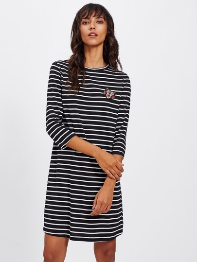 Tiger Patch Front Striped Tee Dress