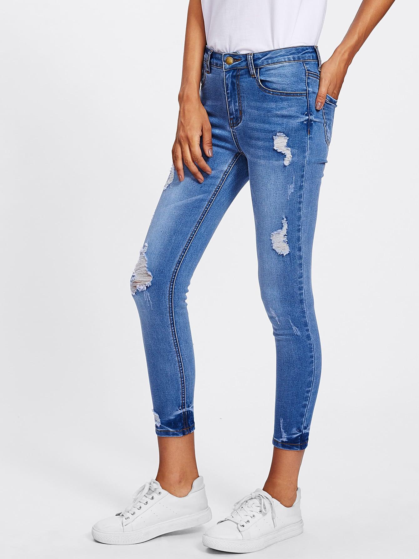 Bleach Wash Rips Detail Jeans