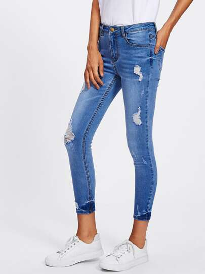Bleach Wash Rips Detail Jeans