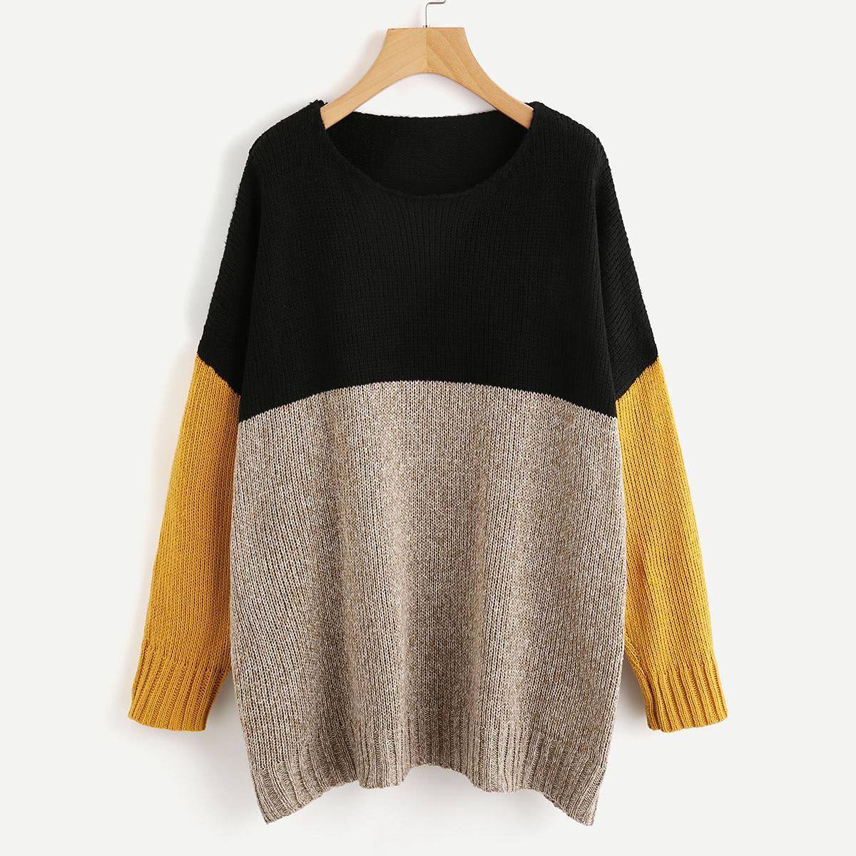 Driekleurige knit trui