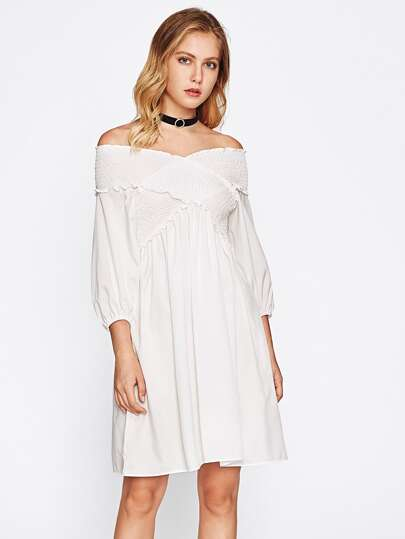 Off Shoulder Shirred Cross Dress