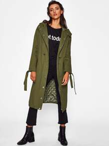 Tied Cuff Drawstring Parka Coat