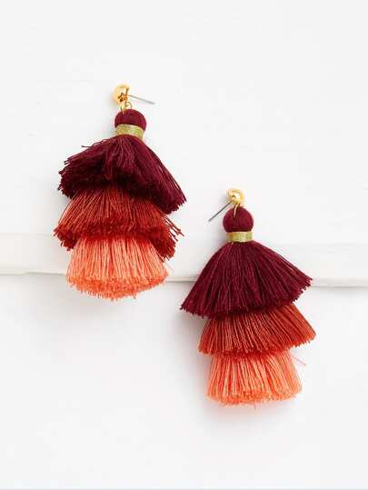 Layered Tassel Drop Earrings