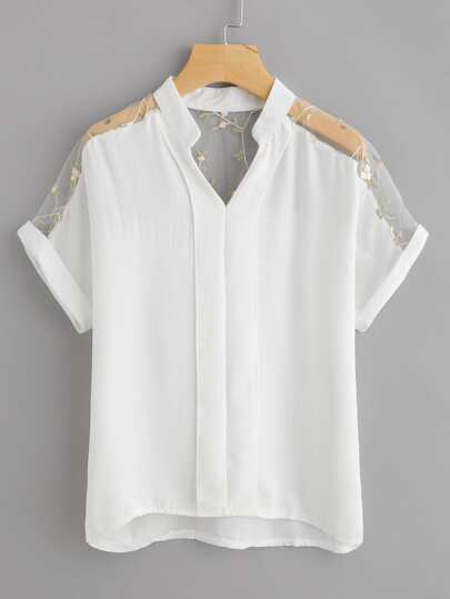 Embroidery Mesh Panel Cuffed Blouse
