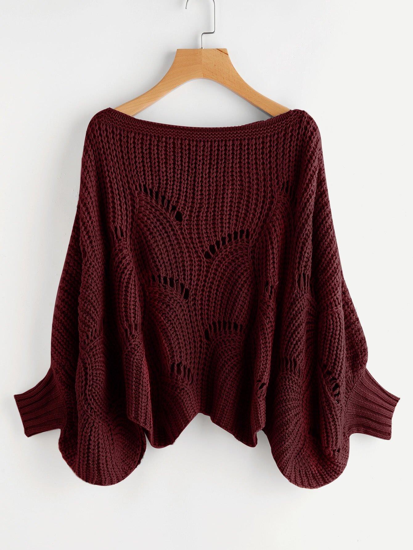 Eyelet Dolman Sleeve Jumper sweater170821453