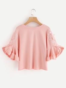 Lace Applique Ruffle Sleeve Raw Hem Sweatshirt