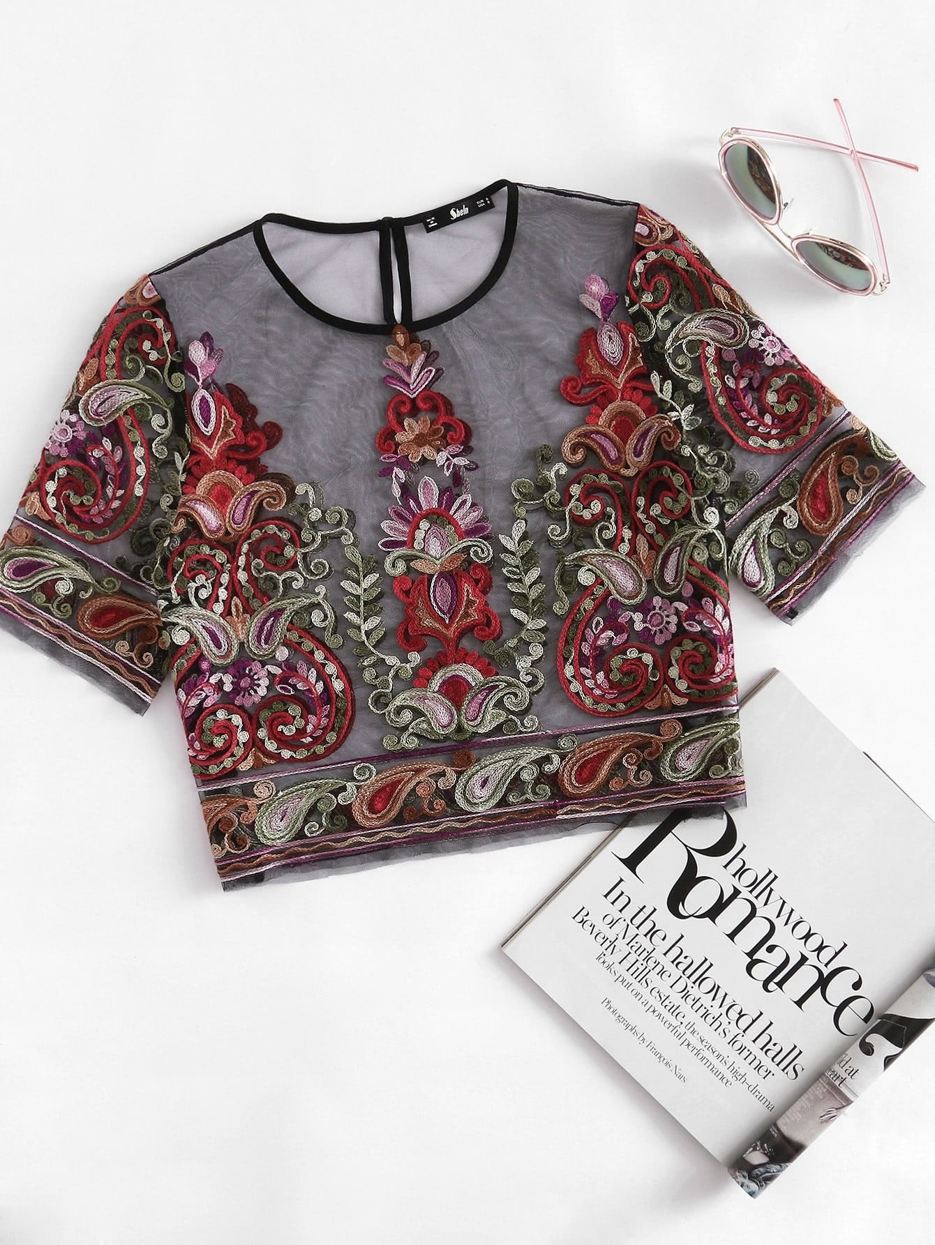 Flower Embroidery Mesh Crop Top embroidered flower mesh crop top