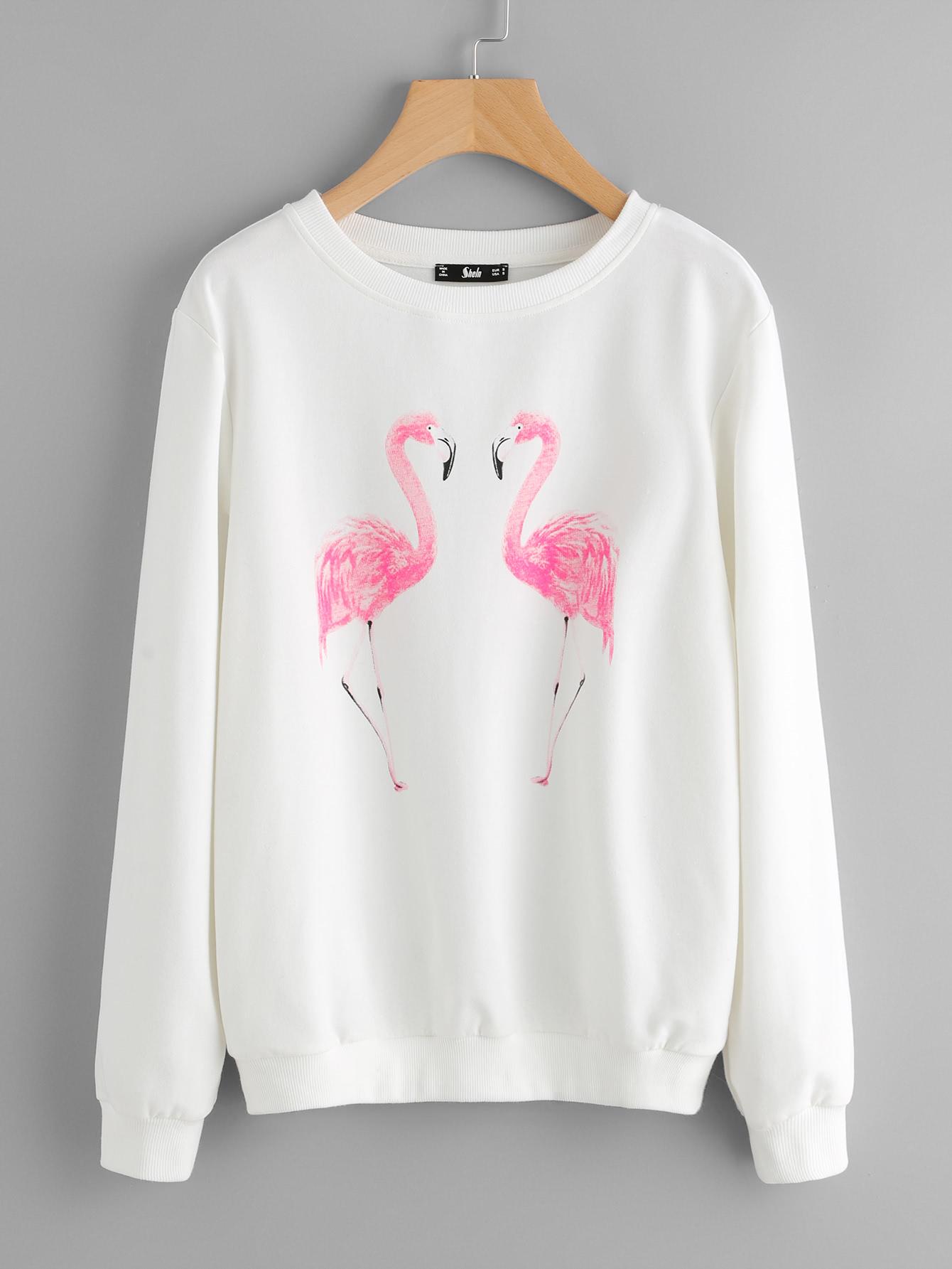 Свитшот с фламинго | Shein