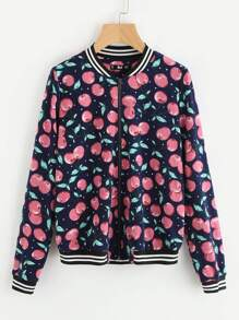 Striped Trim Allover Cherry Print Bomber Jacket
