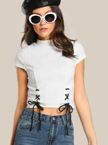 Lace Up Top OFF WHITE