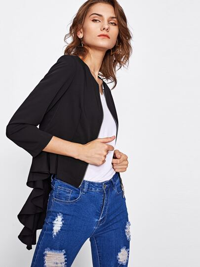 Zip Up Ruffle Back Peplum Blazer