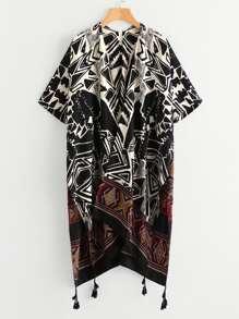 Ornate Print Slit Side Tassel Hem Kimono