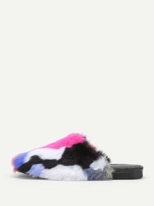 Charm Faux Fur Overlay Flat Slippers