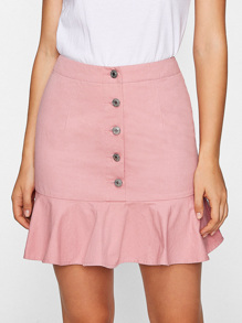 Button Front Ruffle Hem Skirt