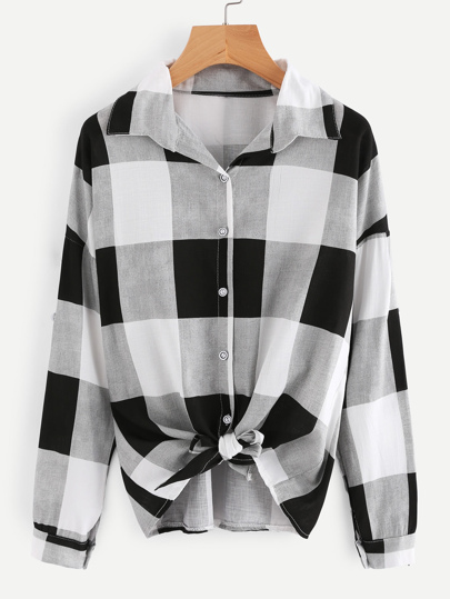 Checked Knot Front Shirt