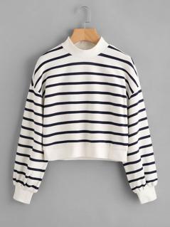 Mock Neck Crop Striped Sweatshirt
