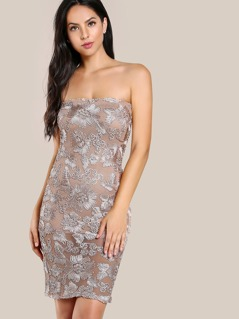 Embroidered Mesh Dress NUDE