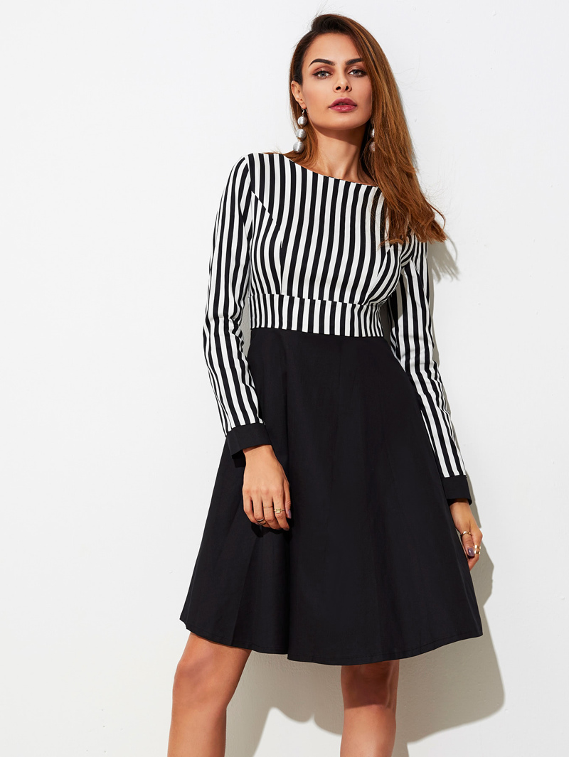 Contrast Stripe Combo Dress, Black and white