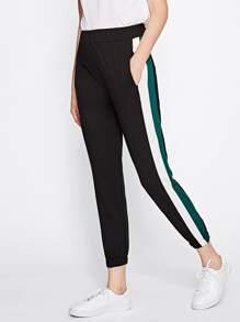 Pantalons de survêtement rayure côté avec taille élastique
