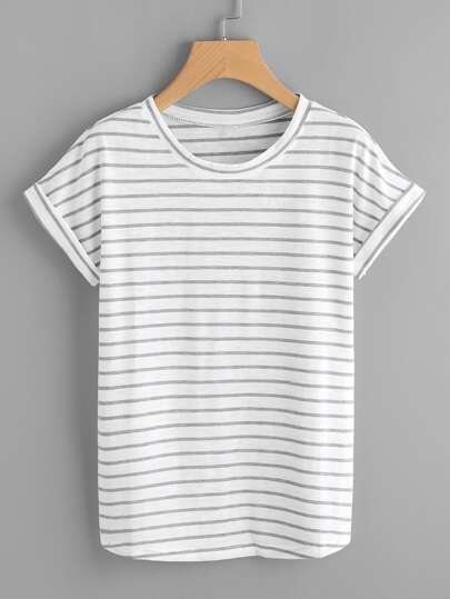 Striped Rolled Cuff Tee