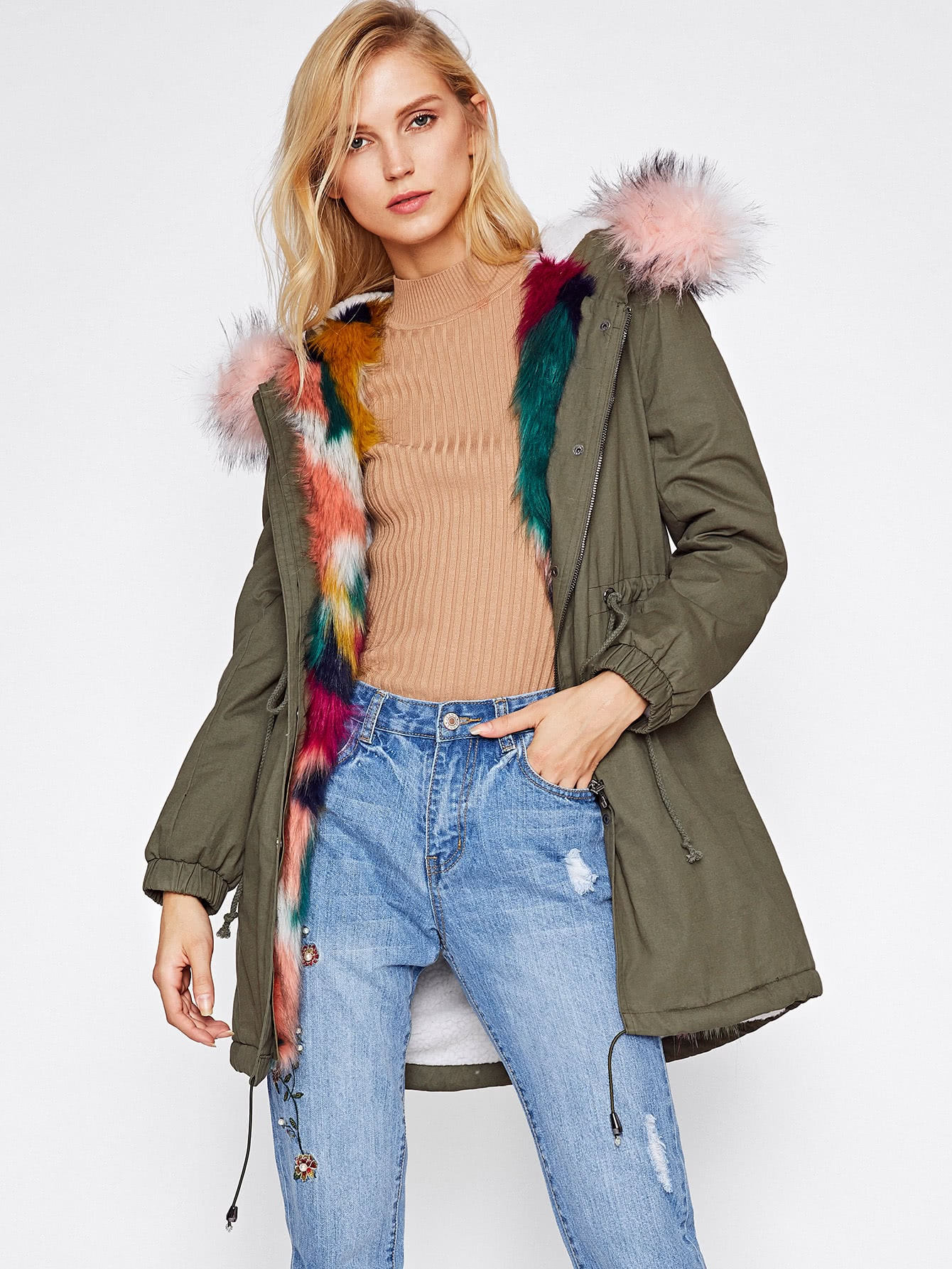 Faux Fur Trim Split Back Parka Coat EmmaCloth-Women Fast Fashion ...