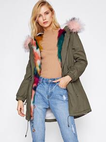 Faux Fur Trim Split Back Parka Coat