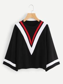 Chevron Stripe Kimono Sleeve Jersey Sweater