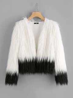 Two Tone Faux Fur Open Front Coat
