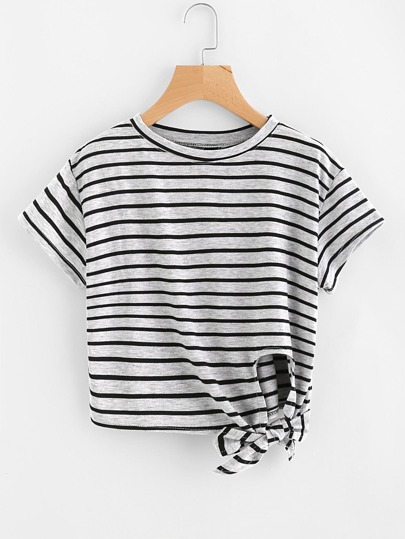 Side Knot Striped Tee