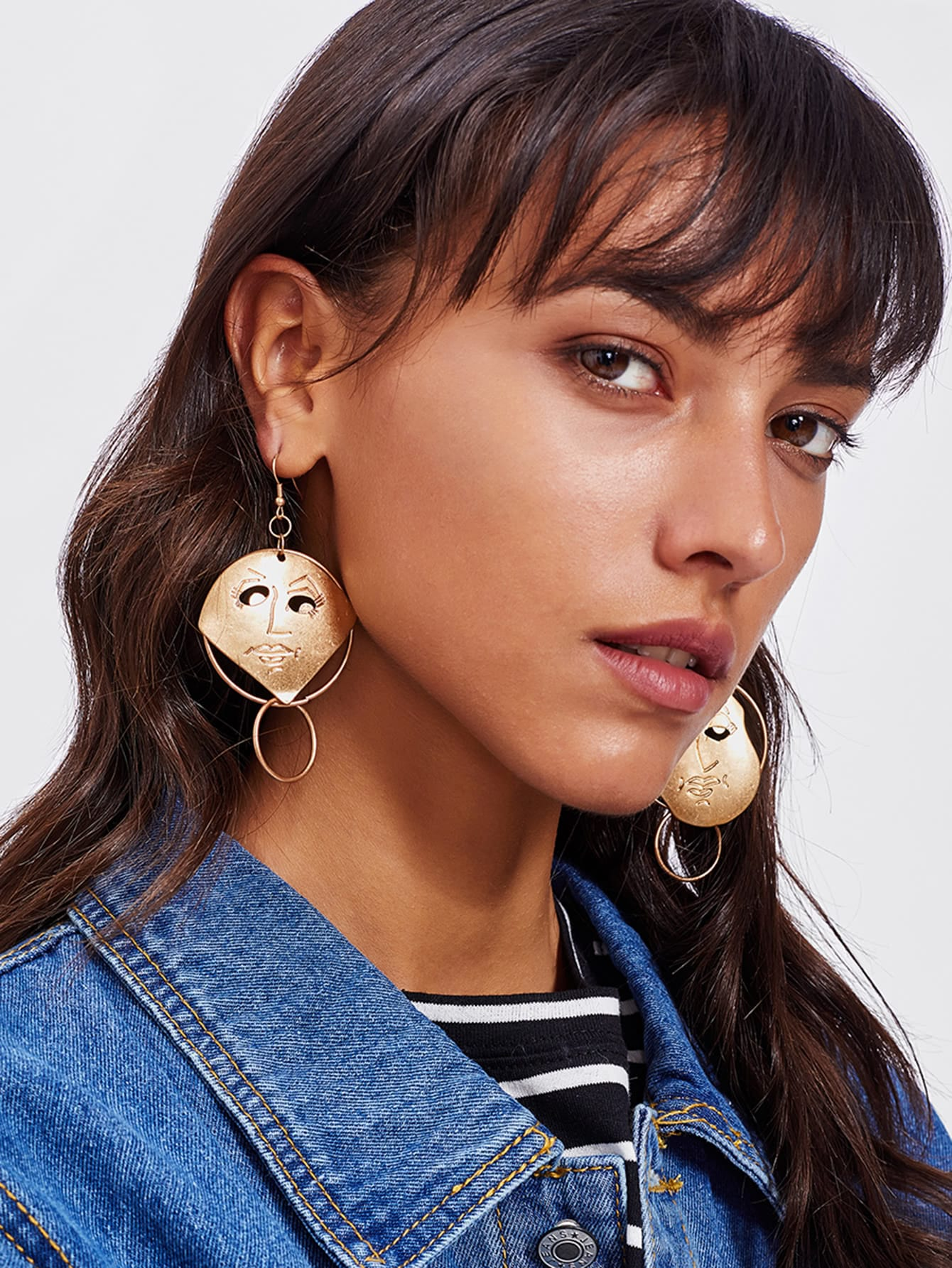 Face Design Double Hoop Drop Earrings