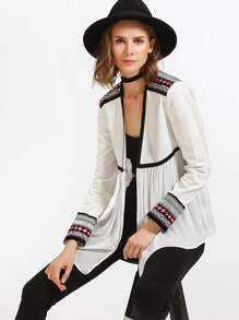 Embroidery Tape Shoulder And Sleeve Contrast Binding Smock Blouse
