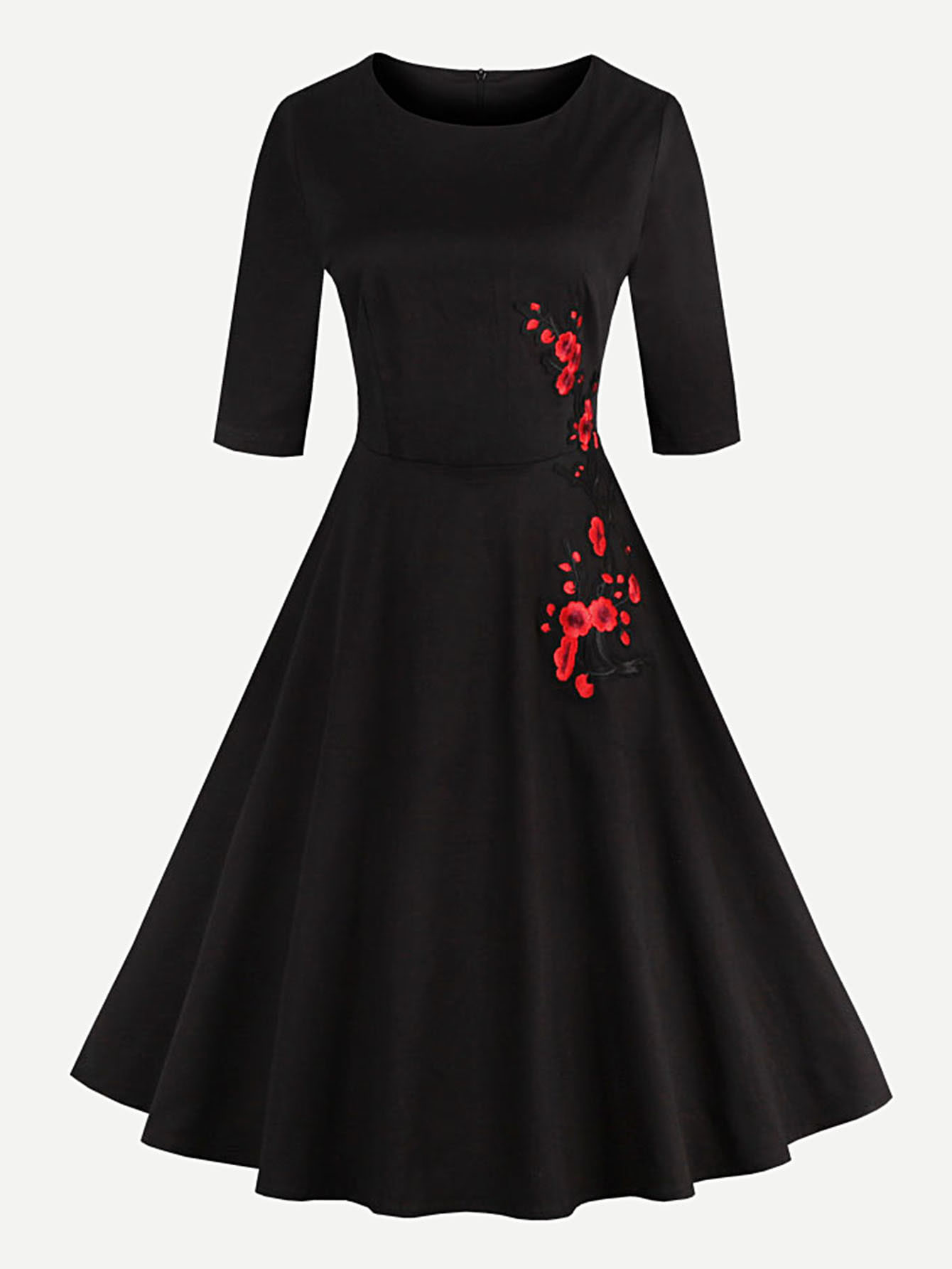 Embroidered Applique Circle Dress embroidered rose applique side split belt dress