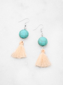 Tassel Drop Earrings With Turquoise