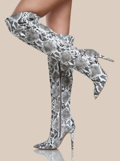 Snake Print Thigh High Boots BLACK WHITE