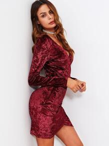 Ruched Overlap Surplice Crushed Velvet Dress