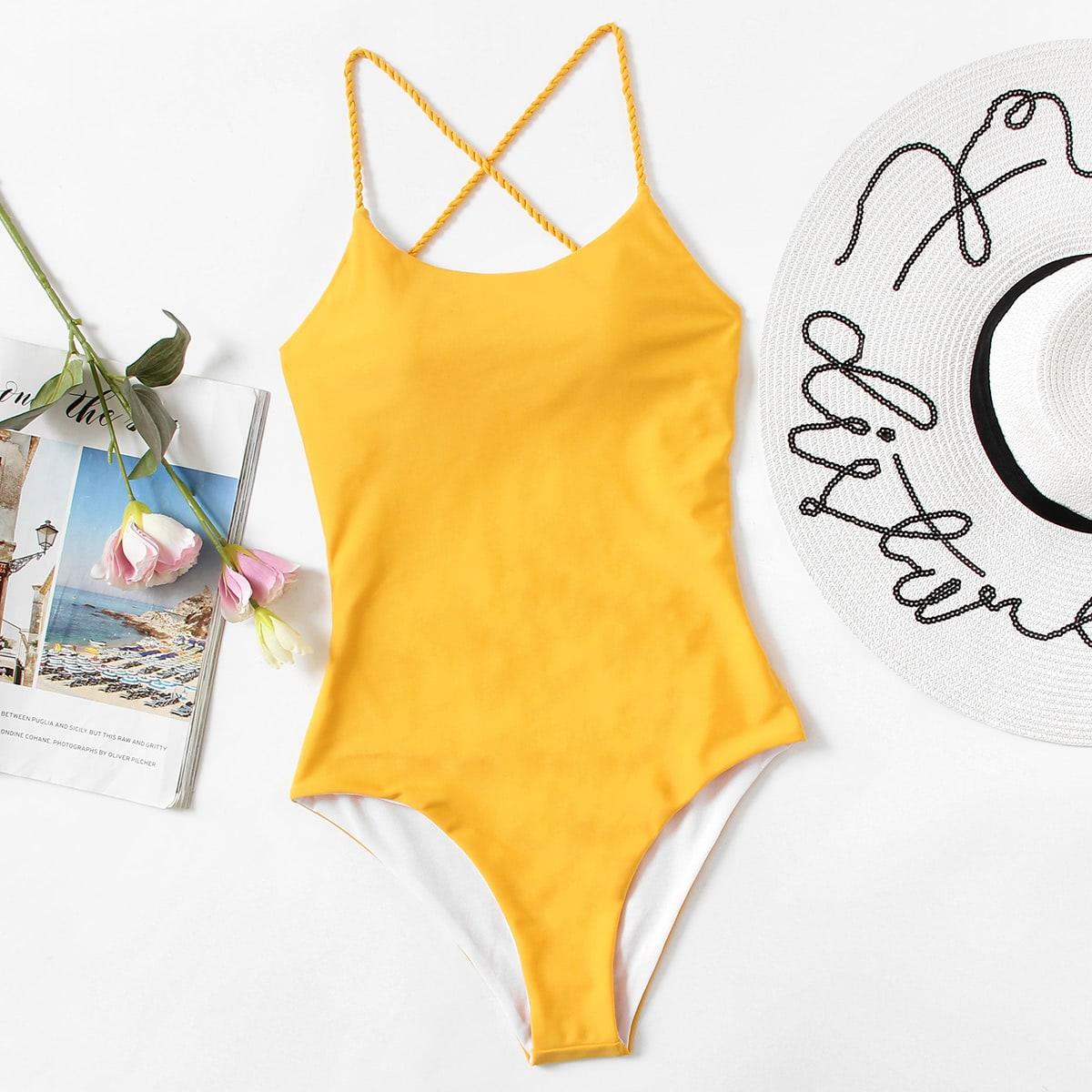 Criss Cross Open Back Swimsuit
