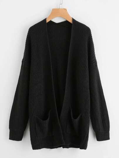 Drop Shoulder Pocket Front Sweater Coat