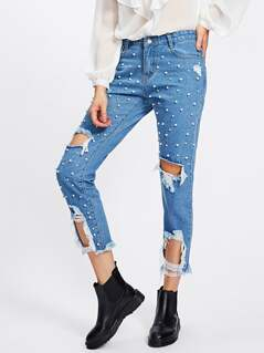 Pearl Beading Destroyed Jeans