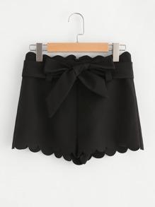 Bow Tied Waist Scallop Trim Shorts