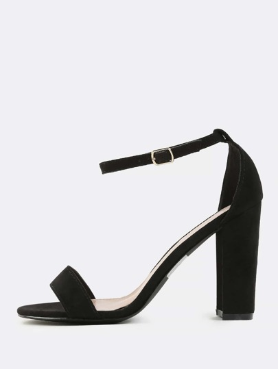 Faux Suede Chunky Heels BLACK