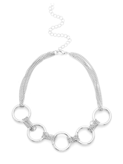 Ring Design Layered Chain Choker