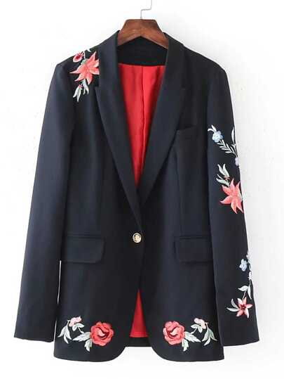 Flower Embroidered Single Button Blazer