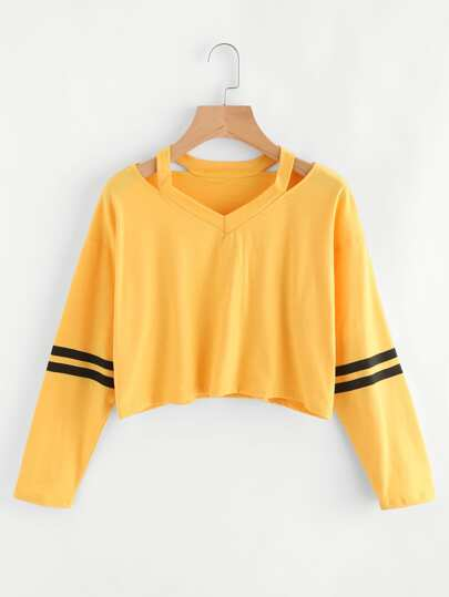 Cut Out Neck Varsity-Striped Tee