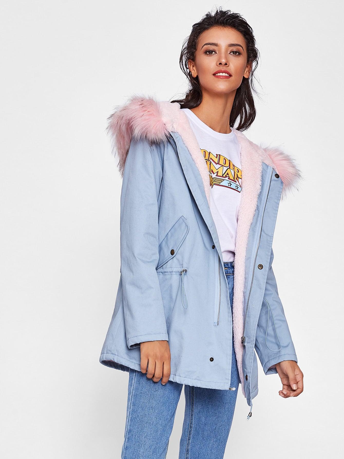 Faux Fur Trim Hoodie Drawstring Coat camo insert faux fur trim denim jacket