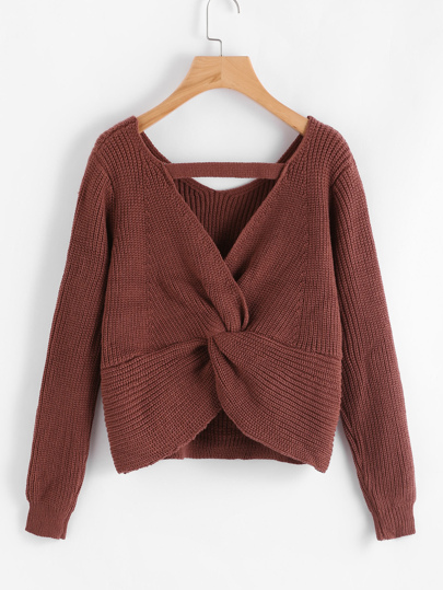 Twist Back Crop Sweater