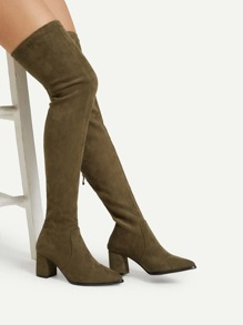 Back Zipper Thigh High Suede Boots