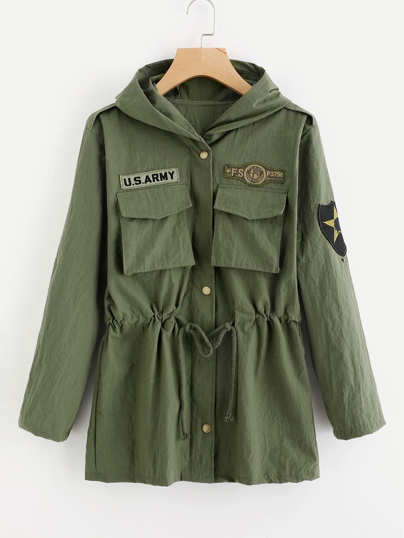 Patch Detail Hooded Military Jacket -SheIn(Sheinside)