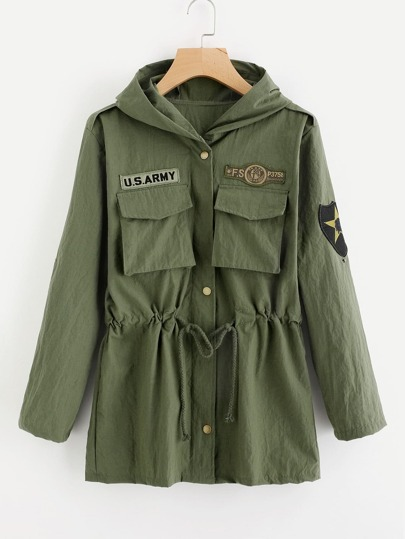 Patch Detail Hooded Military Jacket